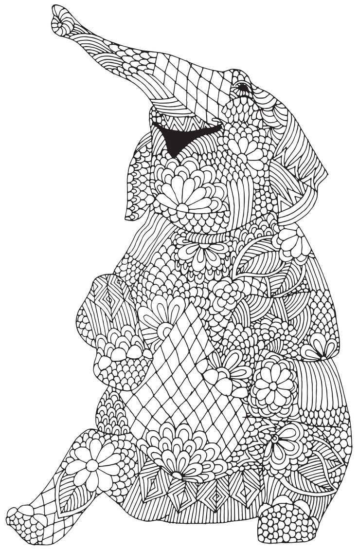 Download elephant coloring pages for adults for Adult color page