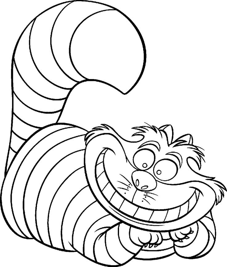 alice in wonderland coloring pages cat - Alice Wonderland Coloring Page