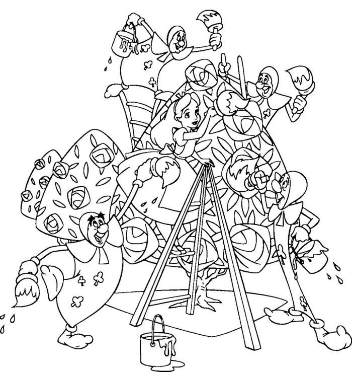 alice in wonderland coloring pages for adults - Alice Wonderland Coloring Page