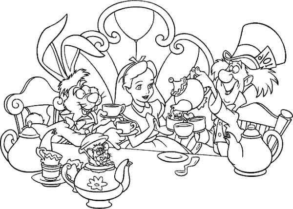alice in wonderland tea party coloring pages - Alice Wonderland Coloring Page