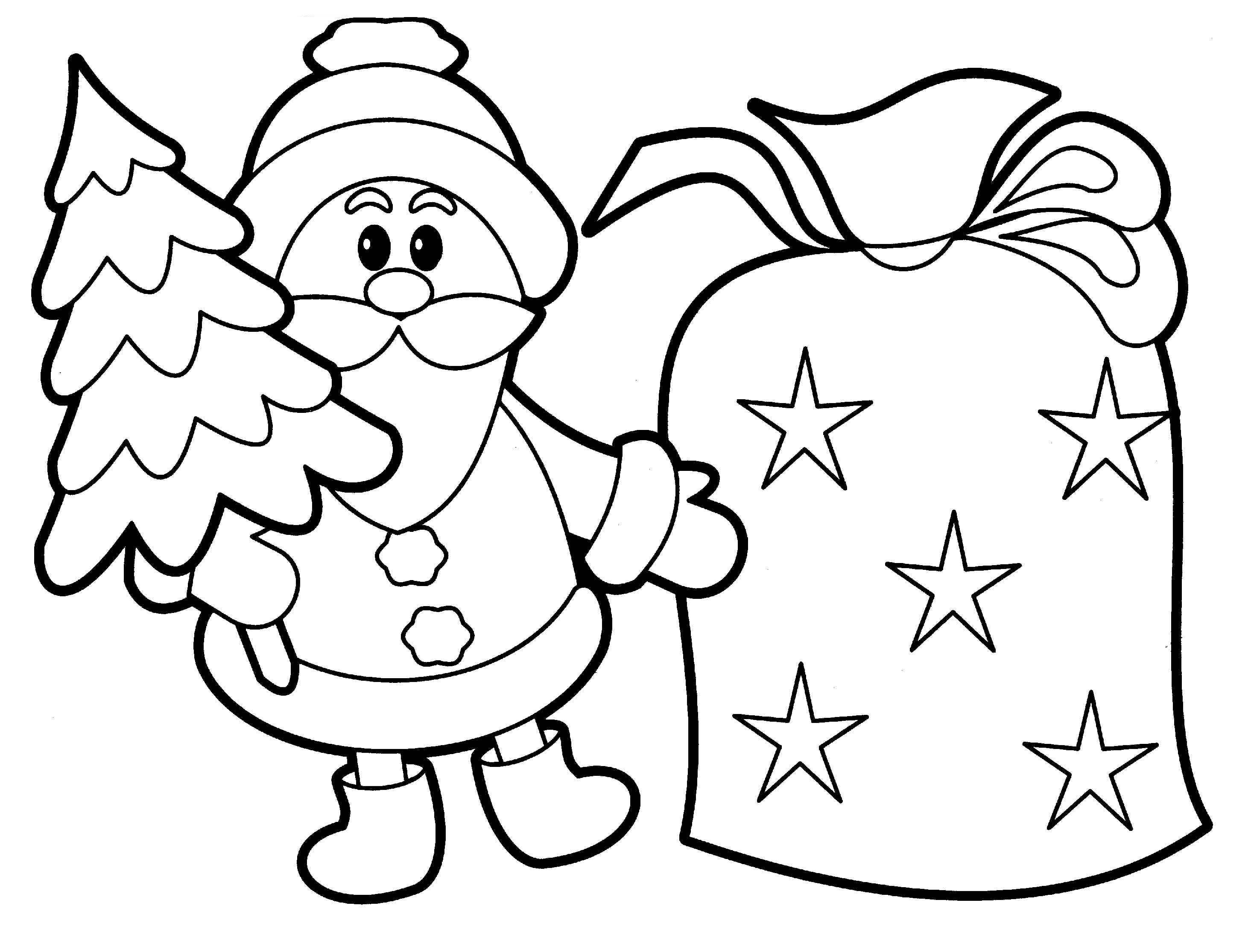 easy coloring pages christmas - photo#30