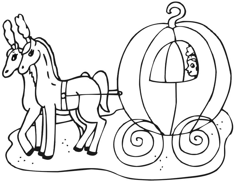 free cinderella carriage coloring pages - photo#1