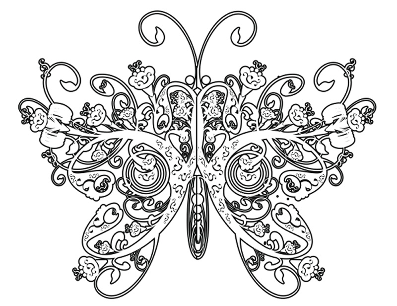 Complicated coloring pages for adults free to print for Coloring pages of butterflies for adults