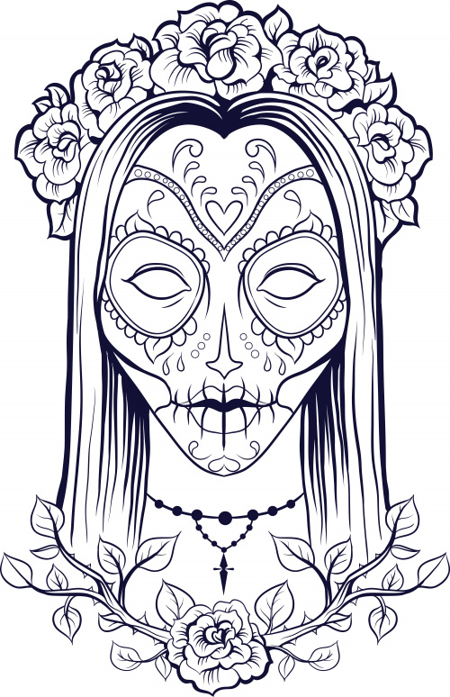 Complicated coloring pages for adults free to print - Mexikanische totenmaske name ...