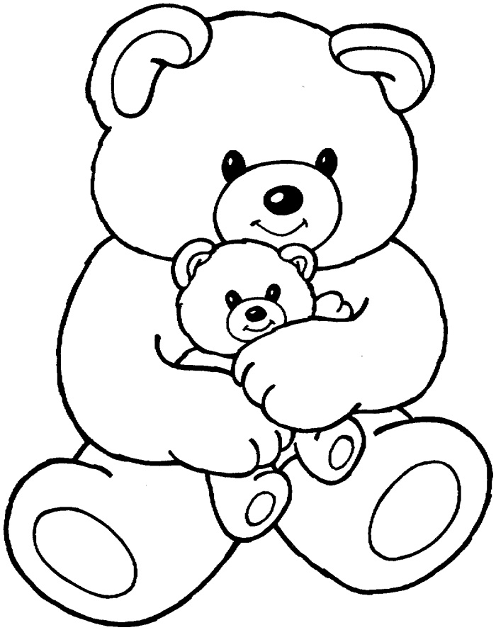 coloring pages teddy bear heart | Cute Bear With Heart Coloring Pages