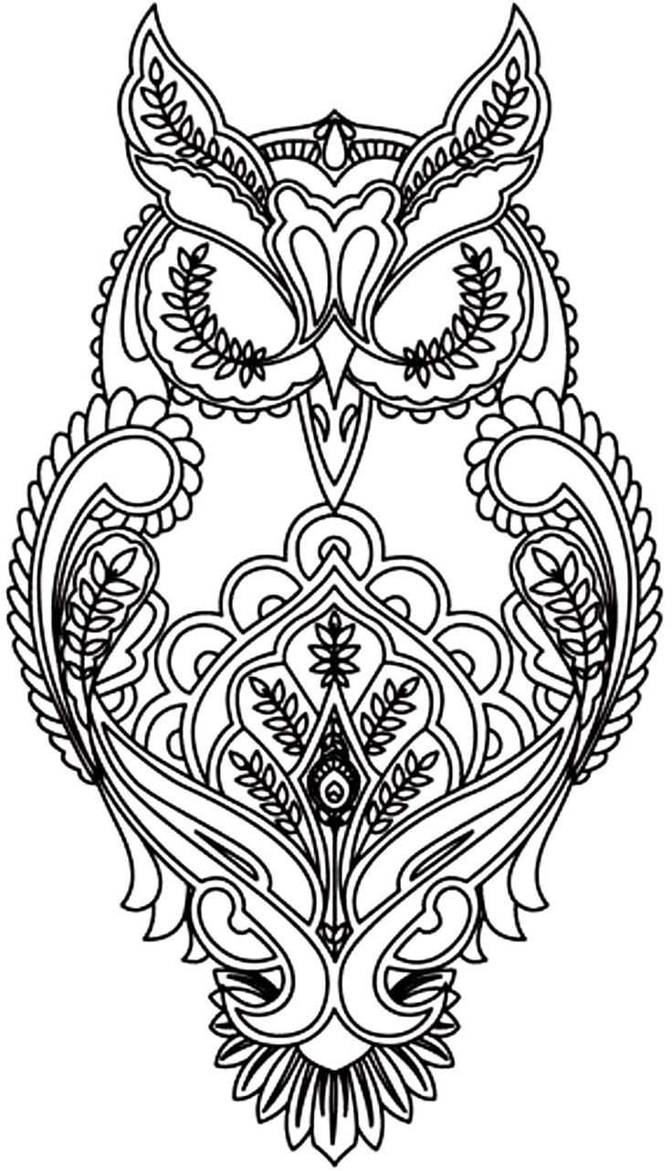Difficult Coloring Pages Owl