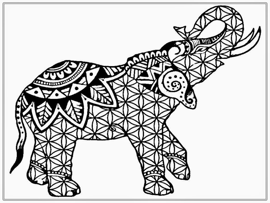 Printable drawing pages for adults - Elephant Coloring Pages For Adults Printable