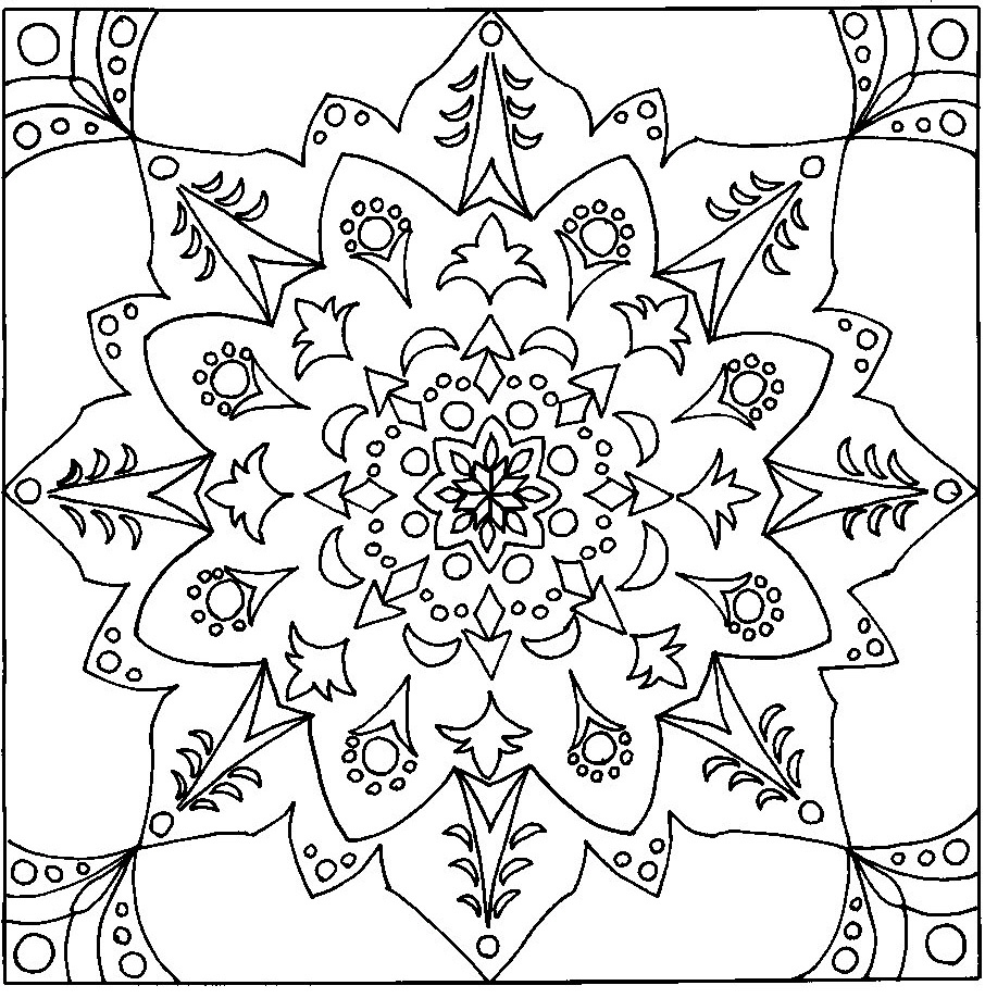 12 typical coloring pages for adults mandala for Hard coloring pages