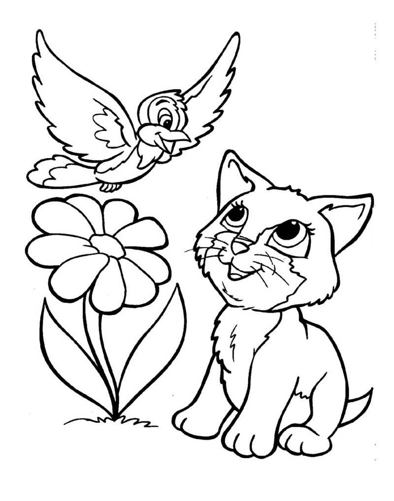 Lovely kitten coloring pages for Cat color pages