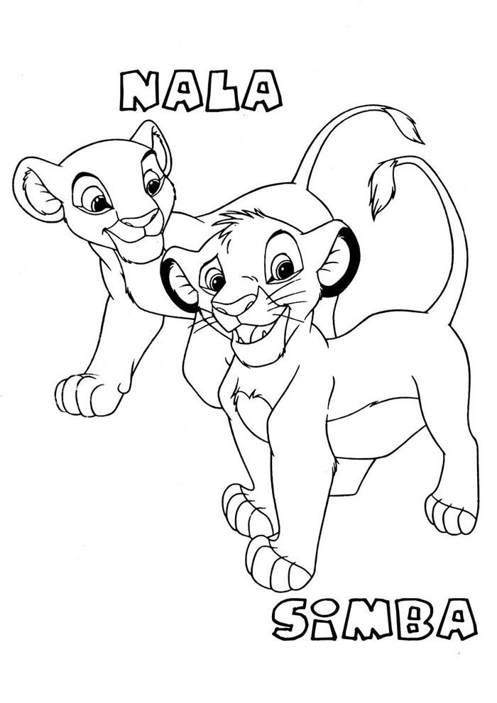 Lion King Coloring Pages Simba and Nala