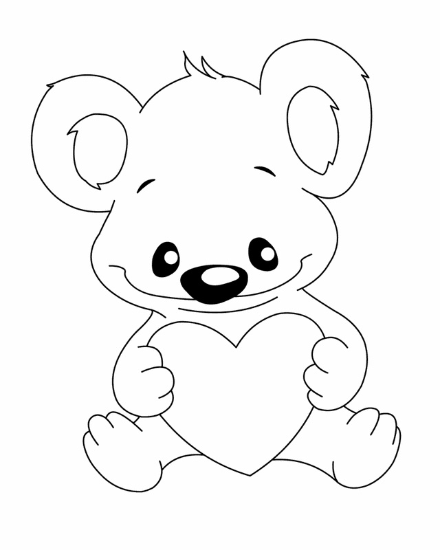 coloring pages teddy bear heart | Teddy Bear Coloring Pages For Kids