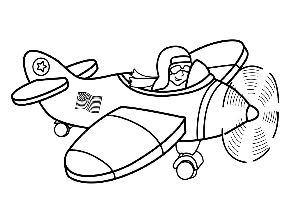 Cartoon Airplane Coloring Pages