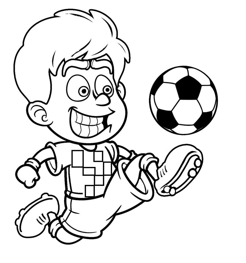 Football coloring pages for kids for Soccer coloring pages for kids