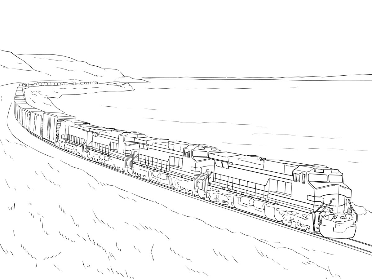 train coloring pages for free download