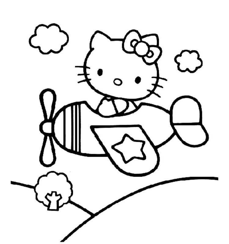 Hello Kitty Airplane Coloring Page