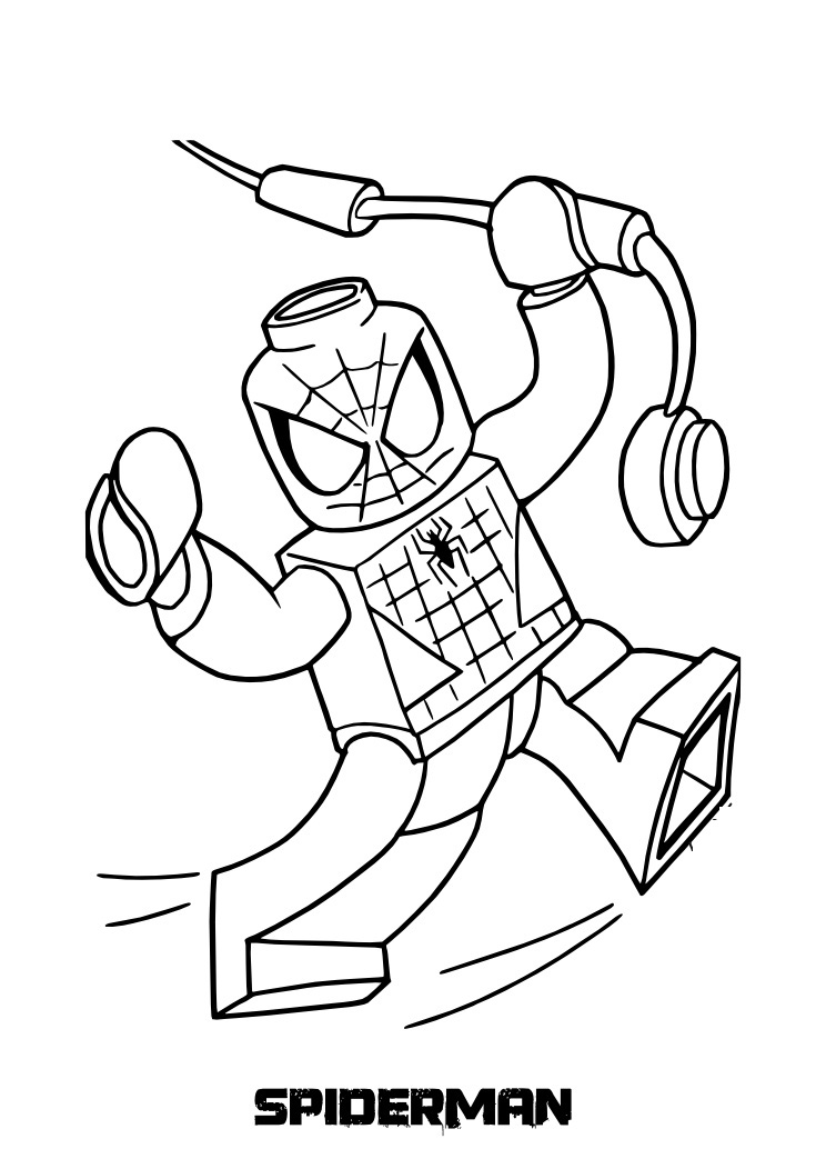 Top 20 spiderman coloring pages printable for Free printable lego coloring pages for kids