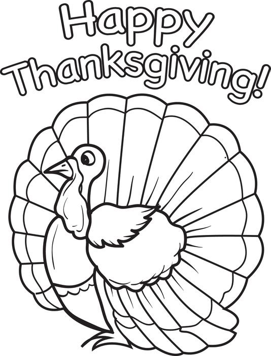 Happy thanksgiving coloring pages for kids for Turkey coloring pages to print