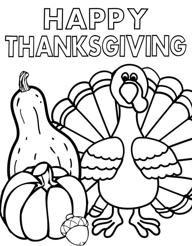 Happy thanksgiving coloring pages for kids for Thanksgiving coloring pages already colored
