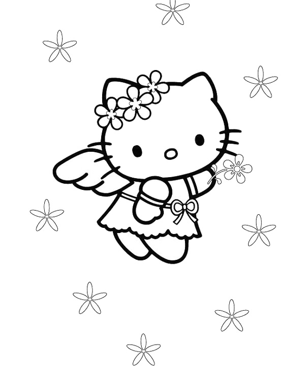 angel hello kitty coloring pages - photo#14