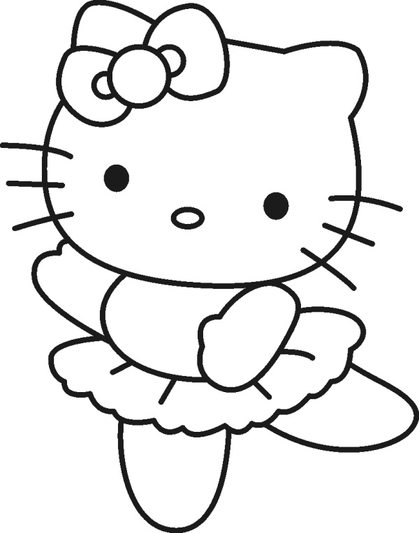 hello kitty ballerina coloring pages - Kitty Coloring Pages