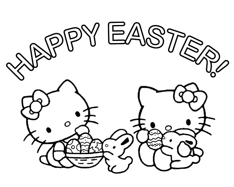Hello Kitty Coloring Pages Easter