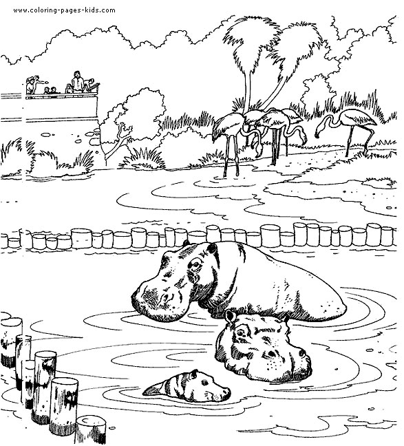 Hippo Family Coloring Pages