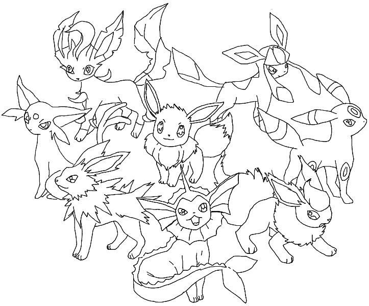 eevee evolutions coloring pages leafeon - photo#6