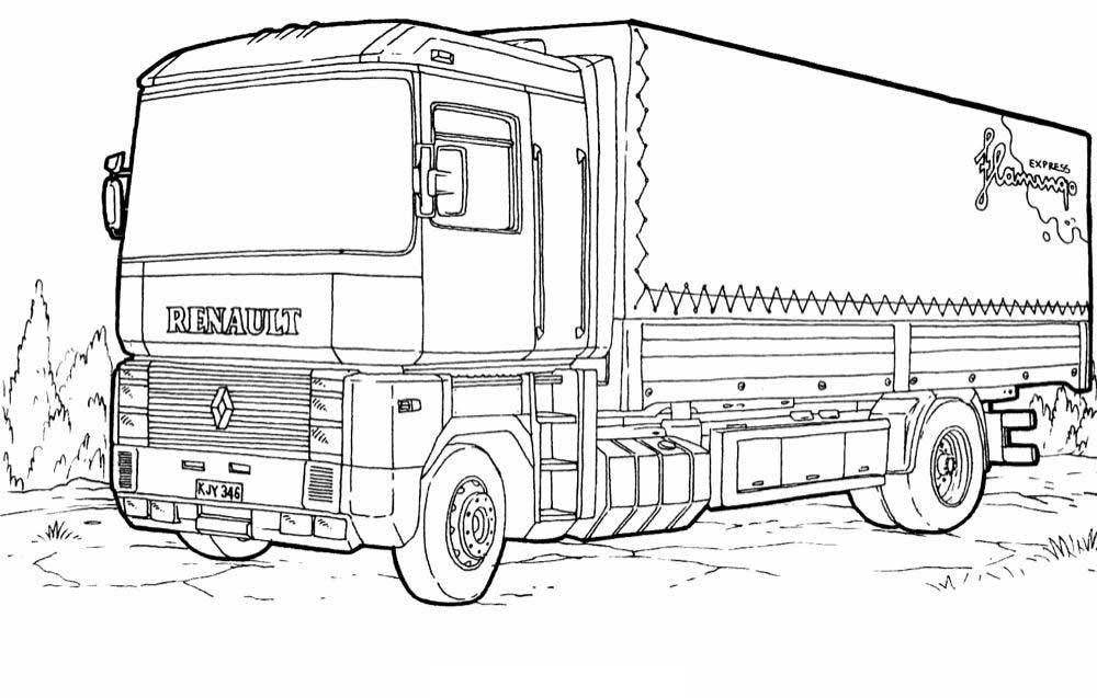 Trailer Truck Coloring Pages