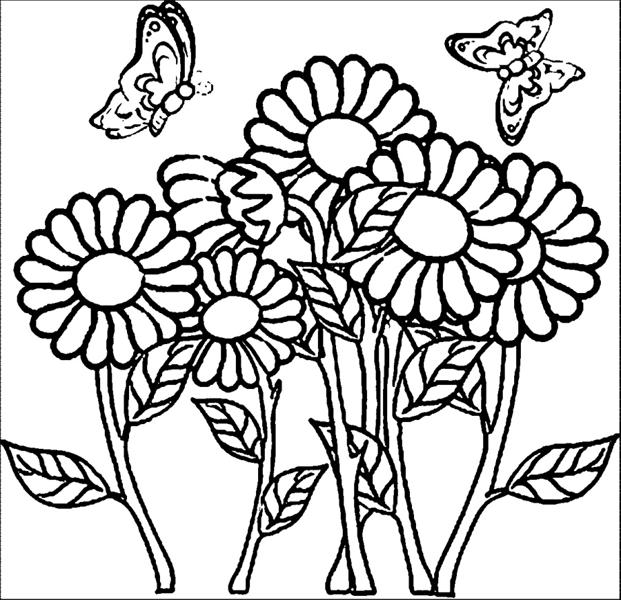 Cool Butterflies And Flowers Coloring Pages Special