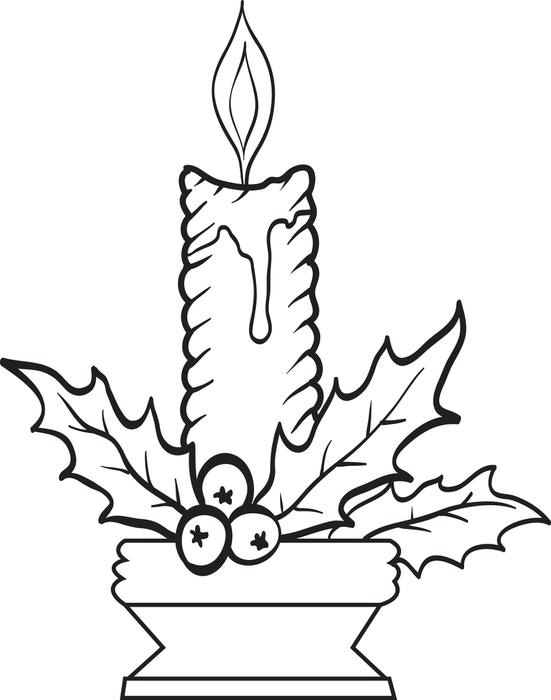 Christmas Candle Coloring Pages