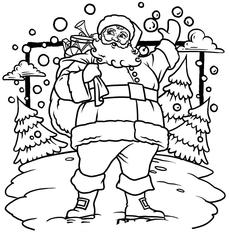 Christmas Coloring Page For Kids Tree With Santa Claus Coloring Page