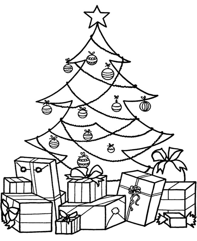 Christmas tree coloring pages for Coloring pages of christmas presents