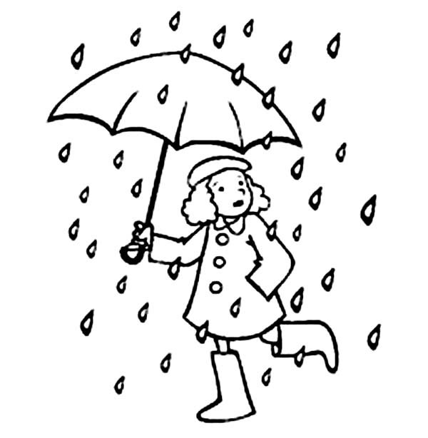 Coloring Pages Umbrella Rain