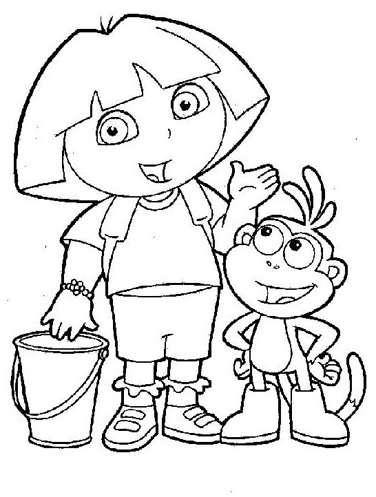 dora boots swiper coloring pages-#19
