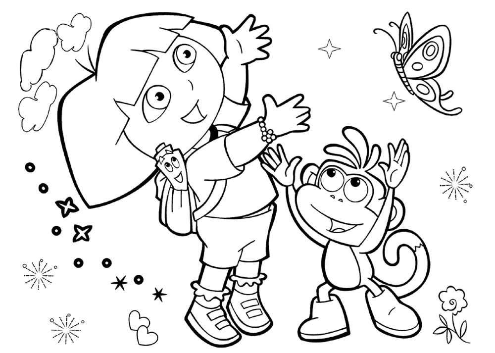 25 wonderful dora the explorer coloring pages for Dora the explorer coloring pages free