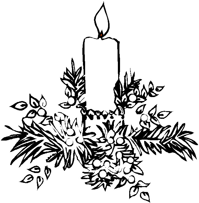 Merry Christmas Candles Coloring Pages