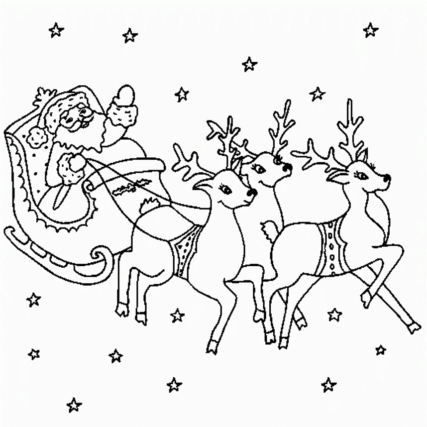 Santa And Reindeer Coloring Pages