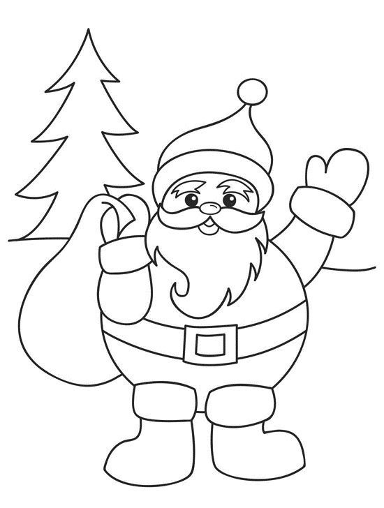 Santa Coloring Pages For Kids
