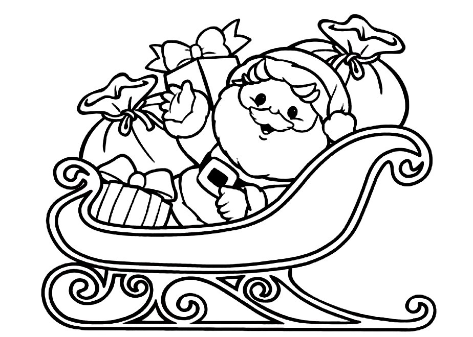 santa sleigh coloring pages - photo#3