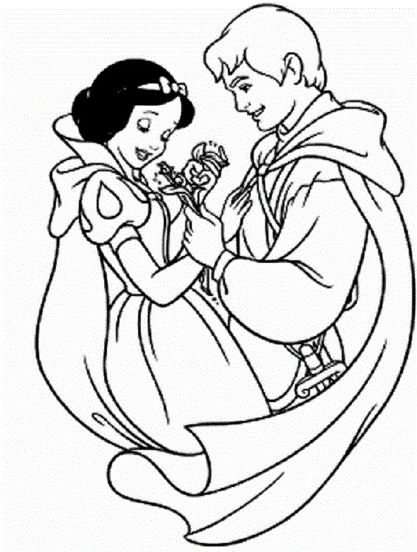 Snow White and Prince Coloring Pages