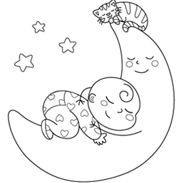 Baby coloring pages for download for Sleeping coloring pages