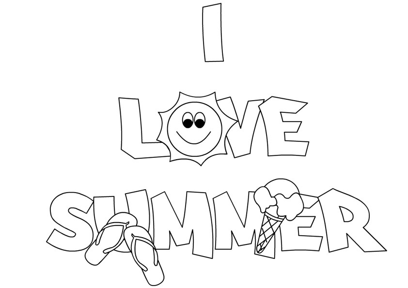 Free summer coloring pages printable for Summer pictures for kids to colour