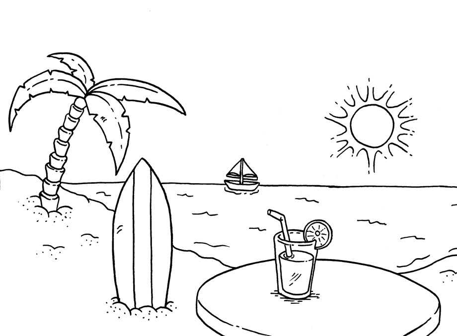 96 Cartoon Beach Coloring Page