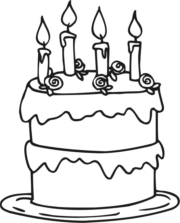 Cake Pictures To Print And Colour : Birthday Cake Coloring Pages Printable