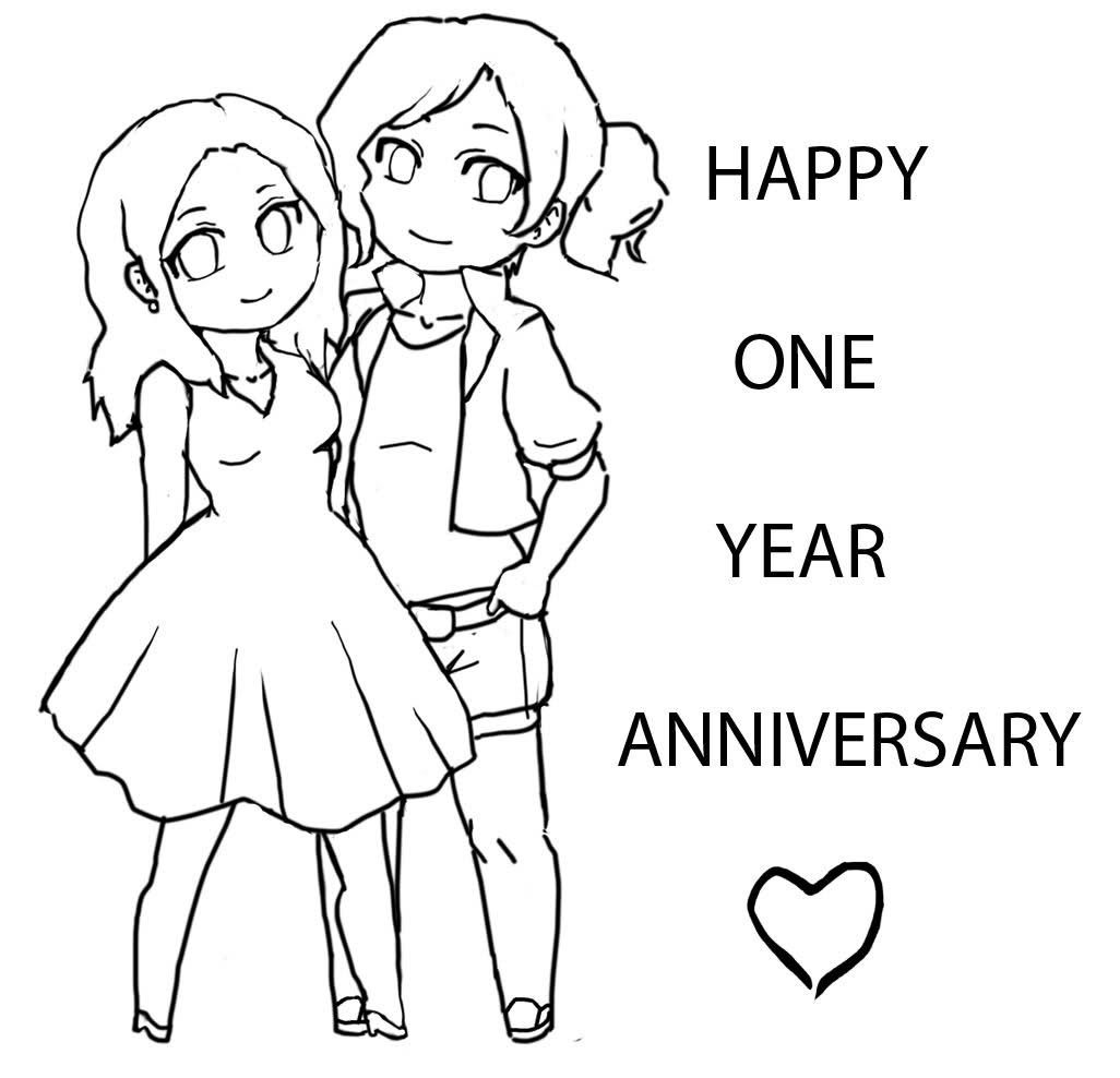 happy 1st anniversary coloring pages