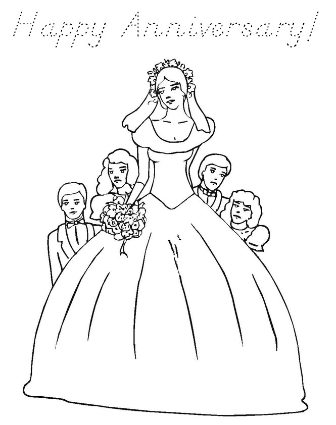 Happy Anniversary Coloring Pages Kids