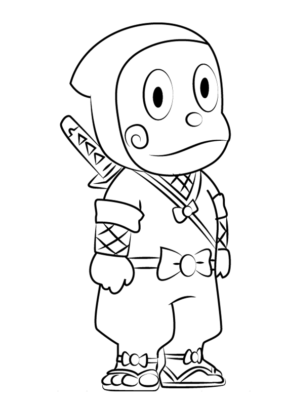 ninja hattori colouring pictures