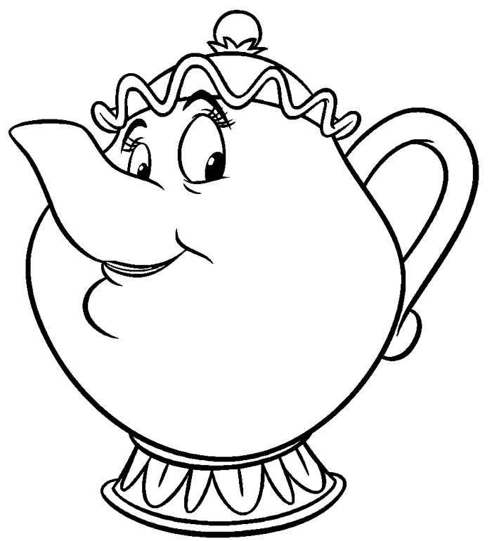 Beauty and The Beast Coloring Page Chip
