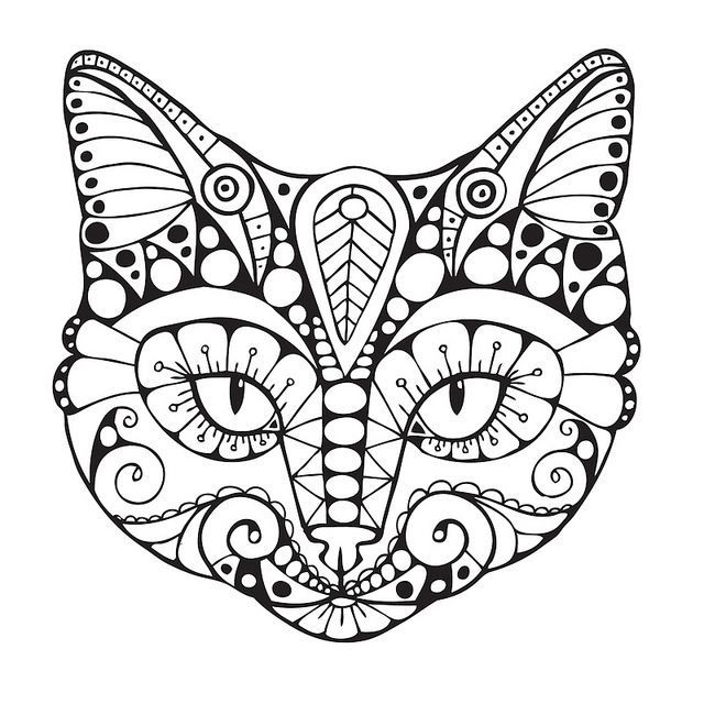 Cat Face Coloring Pages For Adults
