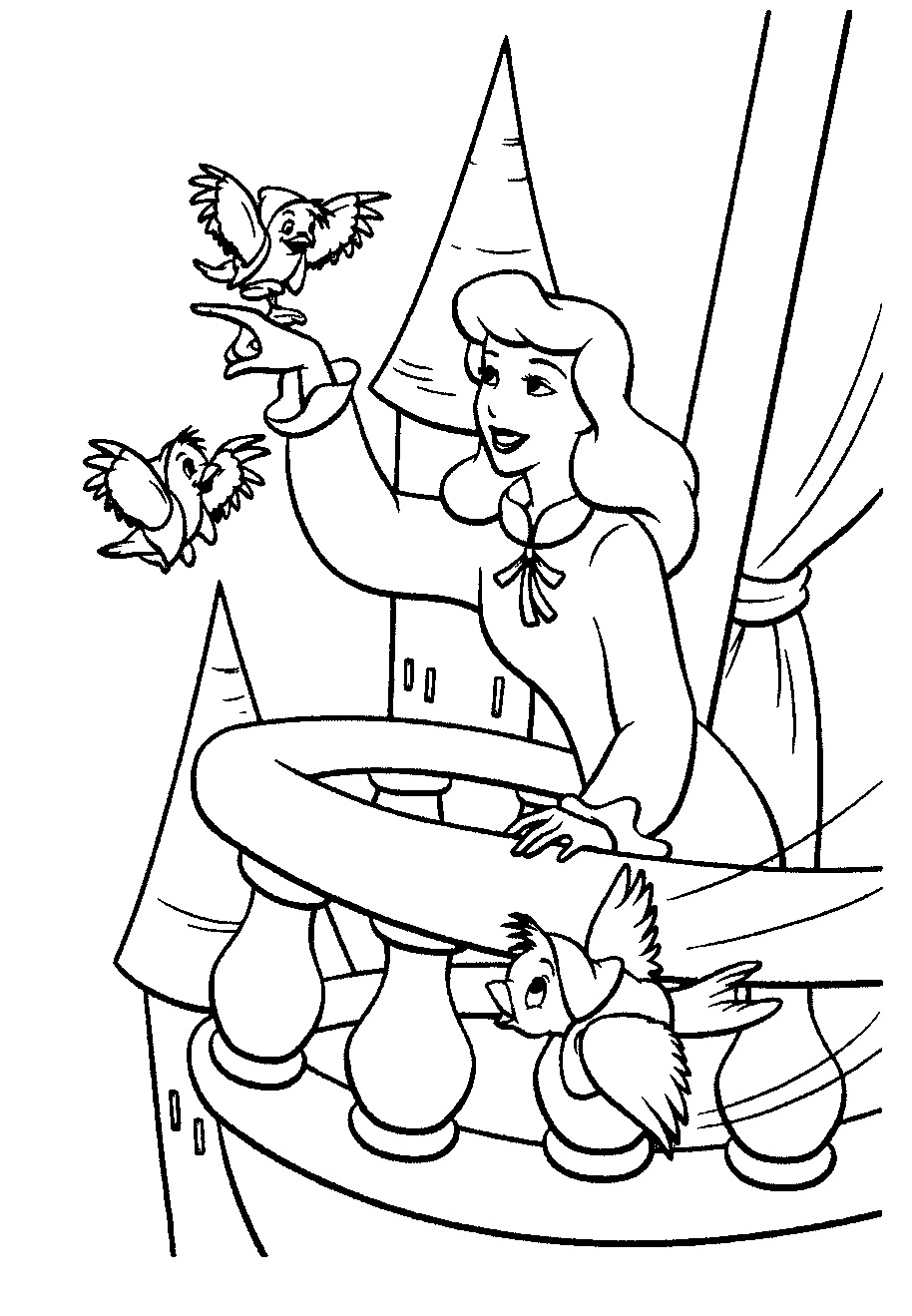 Cinderella Birds Coloring Pages
